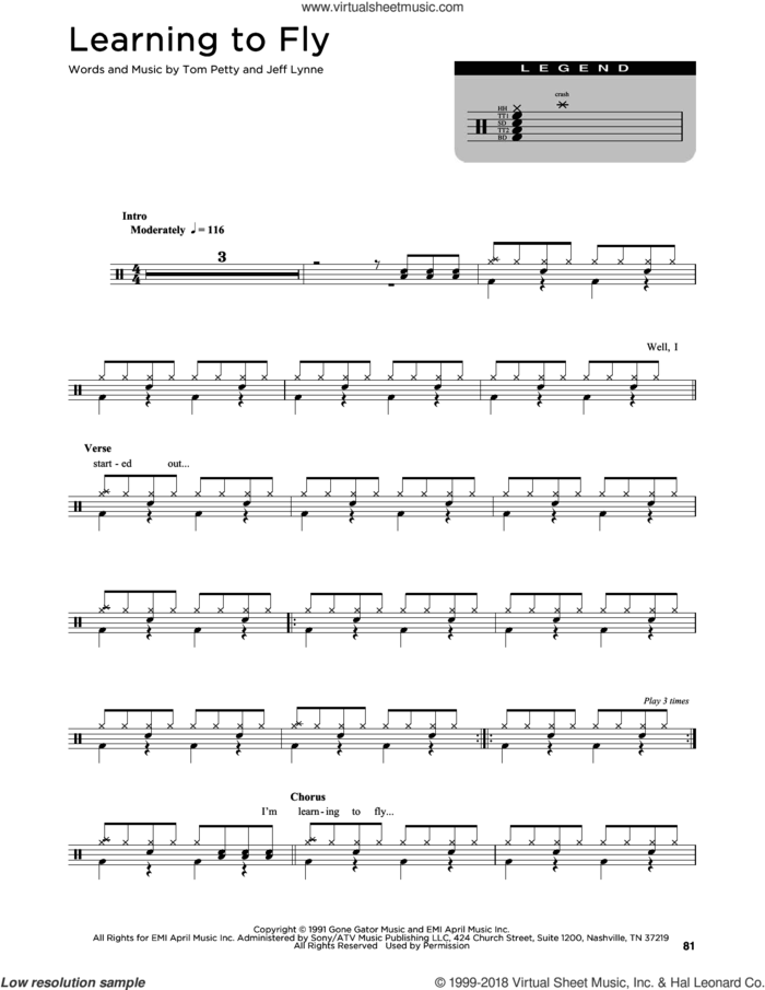 Learning To Fly sheet music for drums (percussions) by Tom Petty and Jeff Lynne, intermediate skill level