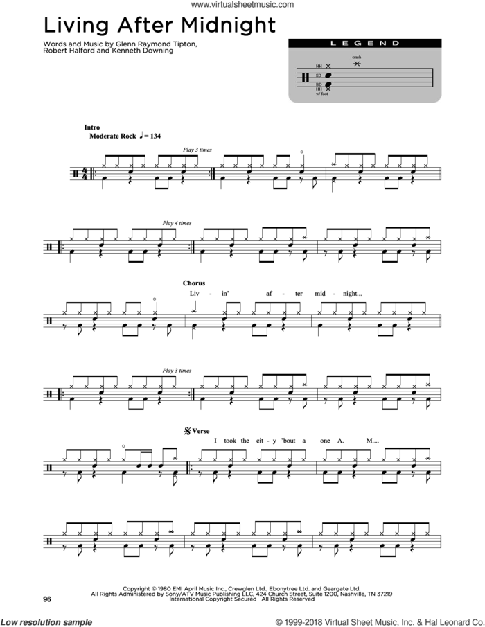 Living After Midnight sheet music for drums (percussions) by Judas Priest, Glenn Raymond Tipton, Kenneth Downing and Rob Halford, intermediate skill level
