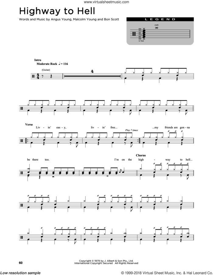 Highway To Hell sheet music for drums (percussions) by AC/DC, Angus Young, Bon Scott and Malcolm Young, intermediate skill level
