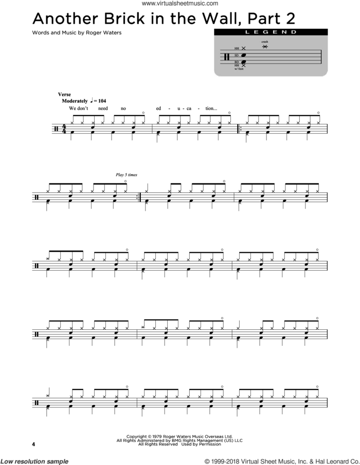 Another Brick In The Wall, Part 2 sheet music for drums (percussions) by Pink Floyd and Roger Waters, intermediate skill level