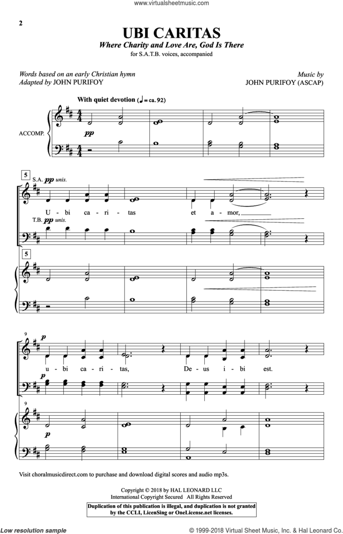 Ubi Caritas (Where Charity And Love Are, God Is There) sheet music for choir (SATB: soprano, alto, tenor, bass) by John Purifoy and 10th Century Latin Text, intermediate skill level