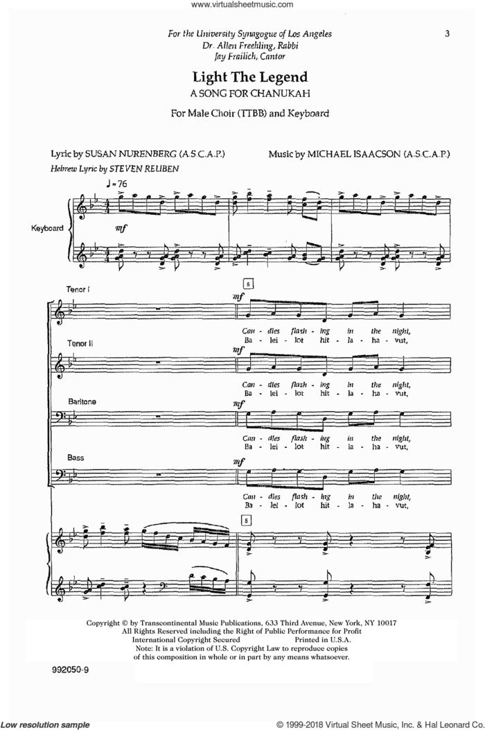 Light The Legend sheet music for choir (TTBB: tenor, bass) by Michael Isaacson, intermediate skill level