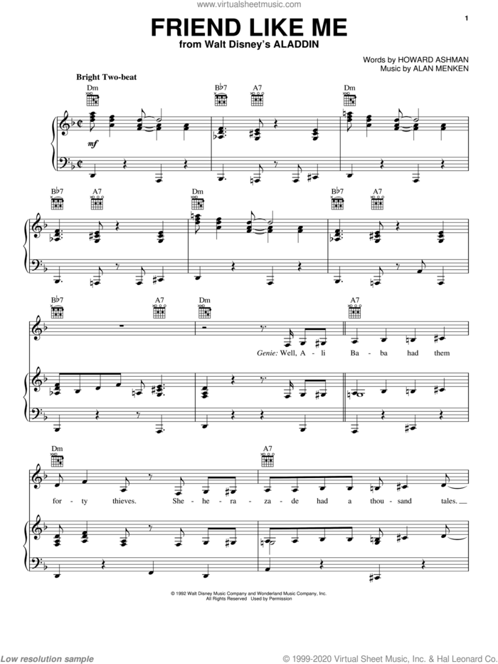 Friend Like Me (from Aladdin) sheet music for voice, piano or guitar by Alan Menken and Howard Ashman, intermediate skill level