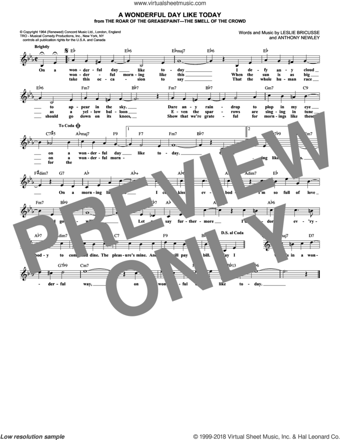 A Wonderful Day Like Today sheet music for voice and other instruments (fake book) by Leslie Bricusse and Anthony Newley, intermediate skill level