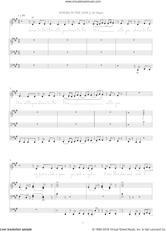Where Is The Line? sheet music for organ by Bjork Gudmundsdottir, intermediate skill level
