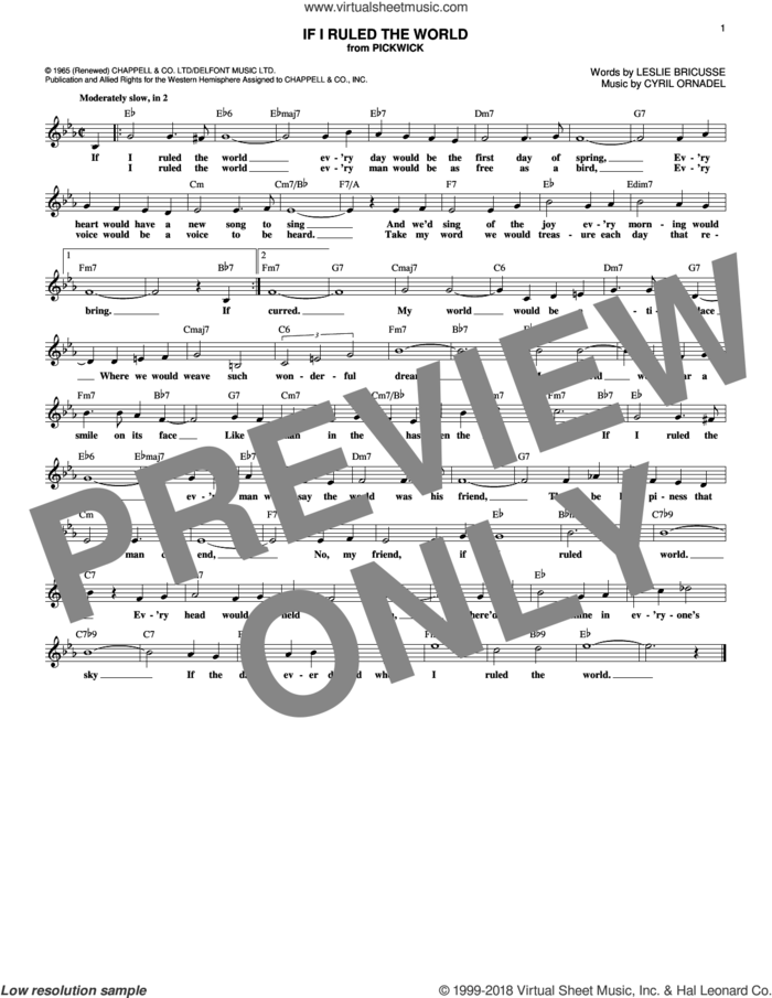 If I Ruled The World sheet music for voice and other instruments (fake book) by Leslie Bricusse and Cyril Ornadel, intermediate skill level