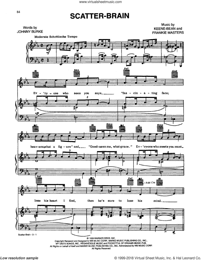 Scatterbrain sheet music for voice, piano or guitar by John Burke, Frankie Masters and Keene-Bean, intermediate skill level