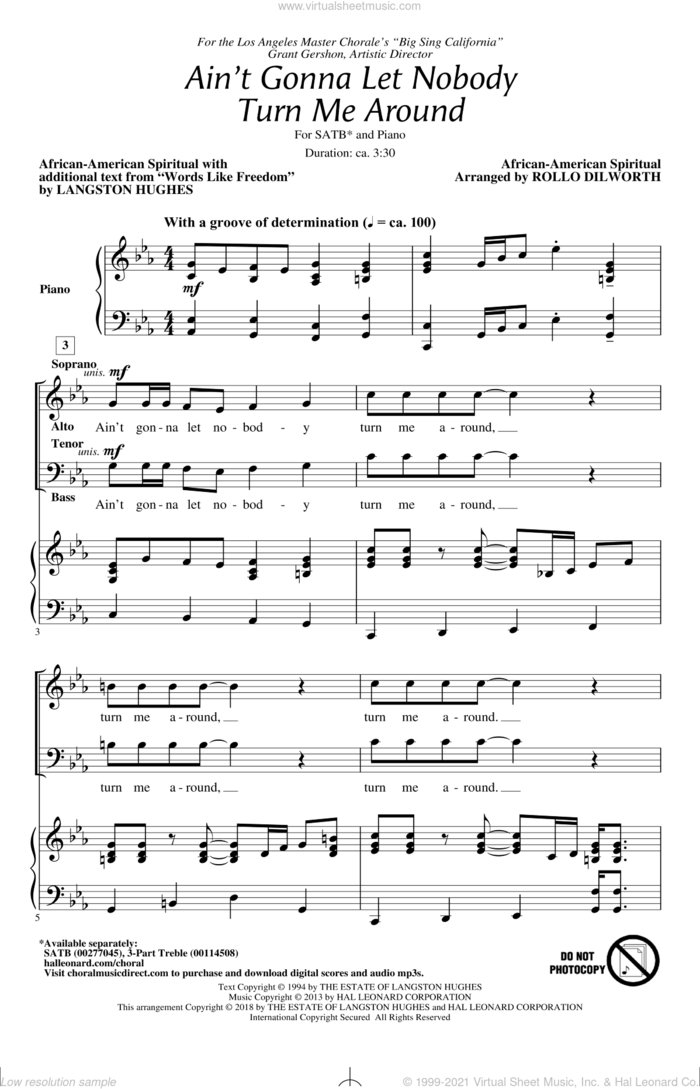 Ain't Gonna Let Nobody Turn Me Around sheet music for choir (SATB: soprano, alto, tenor, bass) by Langston Hughes, Rollo Dilworth and Miscellaneous, intermediate skill level