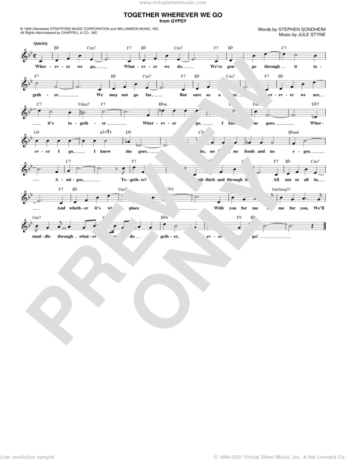 Together Wherever We Go sheet music for voice and other instruments (fake book) by Stephen Sondheim and Jule Styne, intermediate skill level