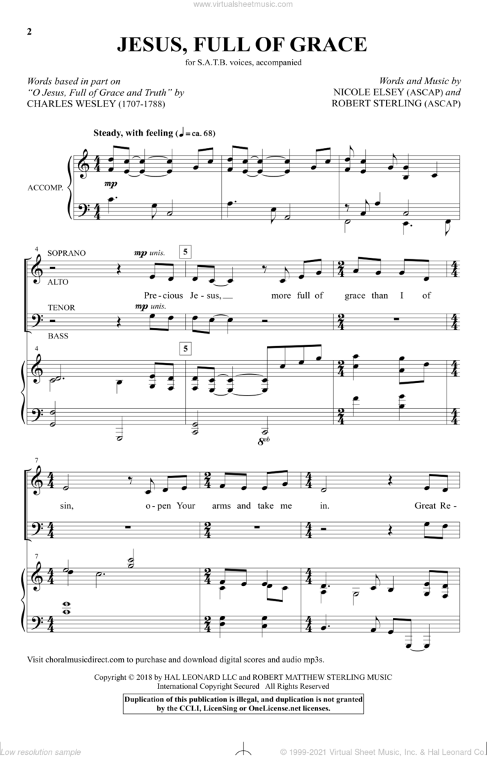 Jesus, Full Of Grace sheet music for choir (SATB: soprano, alto, tenor, bass) by Charles Wesley, Nicole Elsey and Robert Sterling, intermediate skill level