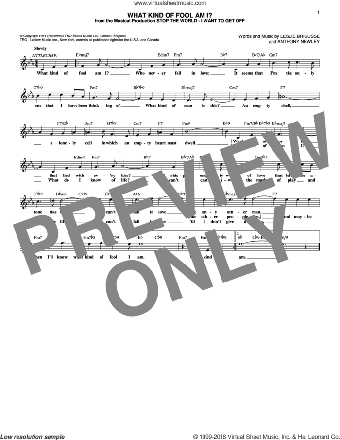 What Kind Of Fool Am I? (from Stop The World - I Want To Get Off) sheet music for voice and other instruments (fake book) by Leslie Bricusse and Anthony Newley, intermediate skill level