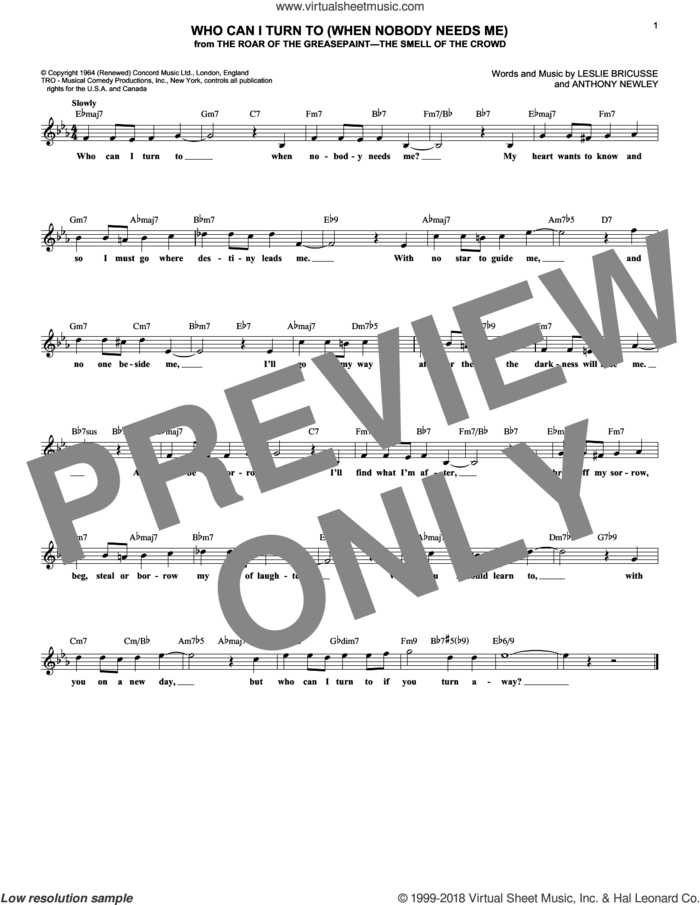 Who Can I Turn To (When Nobody Needs Me) sheet music for voice and other instruments (fake book) by Leslie Bricusse and Anthony Newley, intermediate skill level