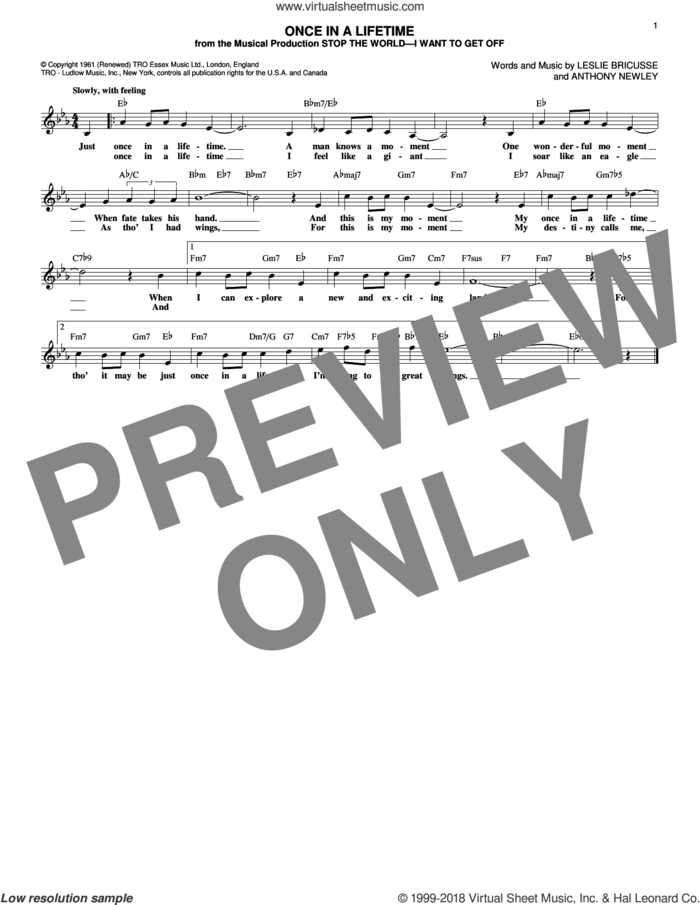 Once In A Lifetime sheet music for voice and other instruments (fake book) by Leslie Bricusse and Anthony Newley, intermediate skill level