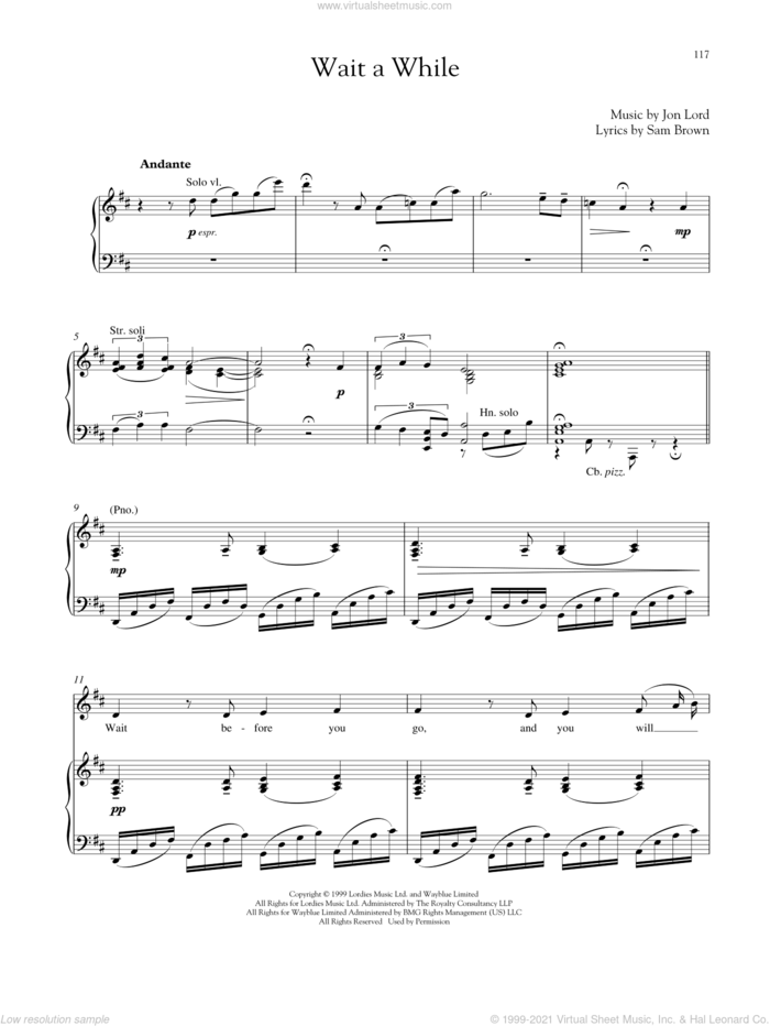 Wait A While sheet music for voice and piano by Jon Lord and Sam Brown, intermediate skill level