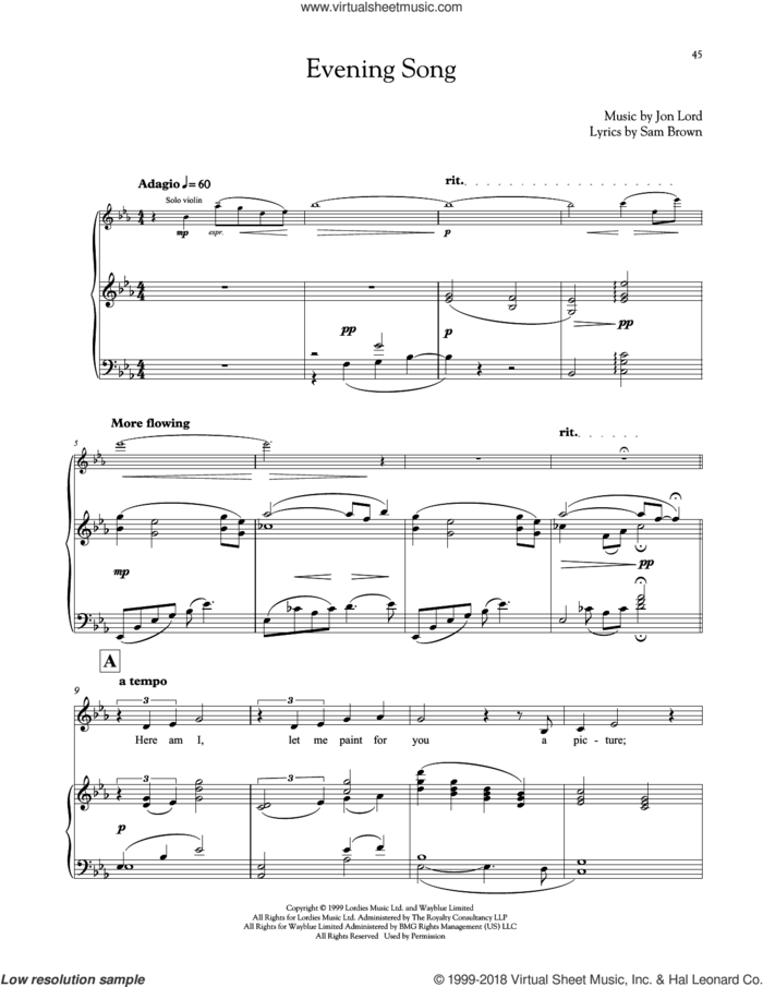 Evening Song sheet music for voice and piano by Jon Lord and Sam Brown, intermediate skill level