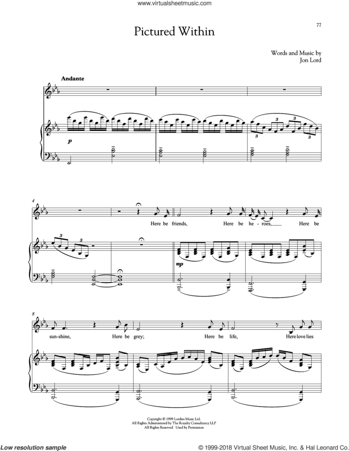 Pictured Within sheet music for voice and piano by Jon Lord, intermediate skill level