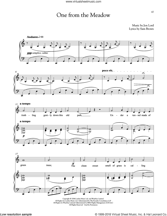 One From The Meadow sheet music for voice and piano by Jon Lord and Sam Brown, intermediate skill level