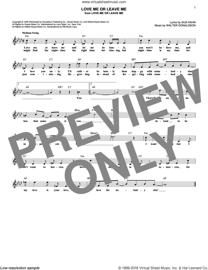 Love Me Or Leave Me sheet music for voice and other instruments (fake book) by Gus Kahn, Dave Pell and Walter Donaldson, intermediate skill level