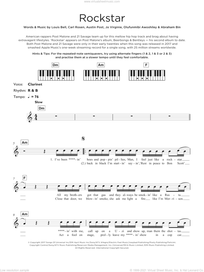 Rockstar (featuring 21 Savage) sheet music for piano solo (keyboard) by Post Malone, 21 Savage, Abraham Bin, Austin Post, Carl Rosen, Jo Virginie, Louis Bell and Olufunmibi Awoshiley, intermediate piano (keyboard)