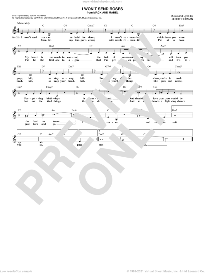 I Won't Send Roses sheet music for voice and other instruments (fake book) by Jerry Herman, intermediate skill level