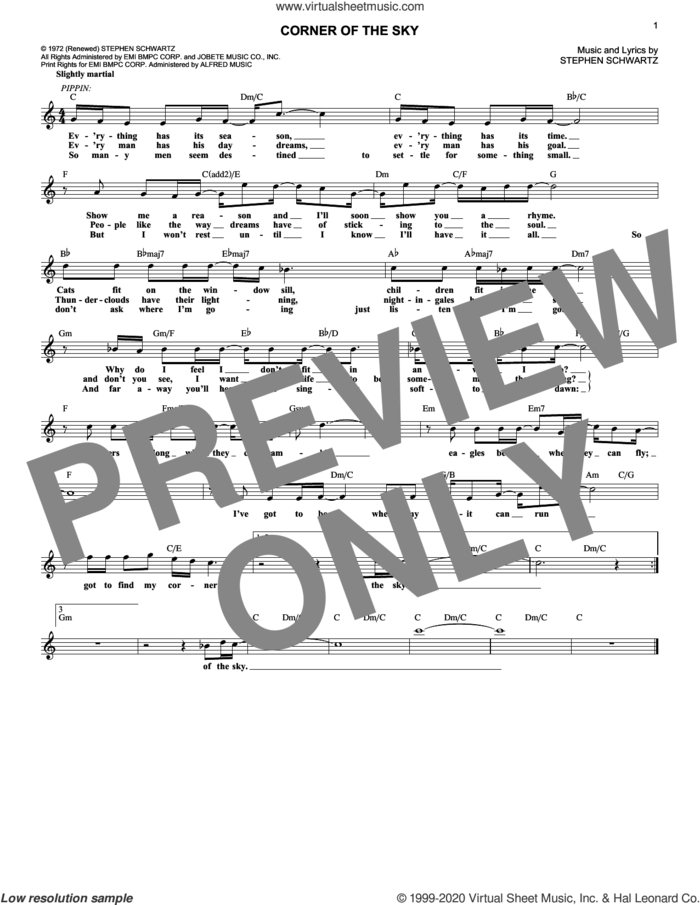 Corner Of The Sky sheet music for voice and other instruments (fake book) by Stephen Schwartz, intermediate skill level