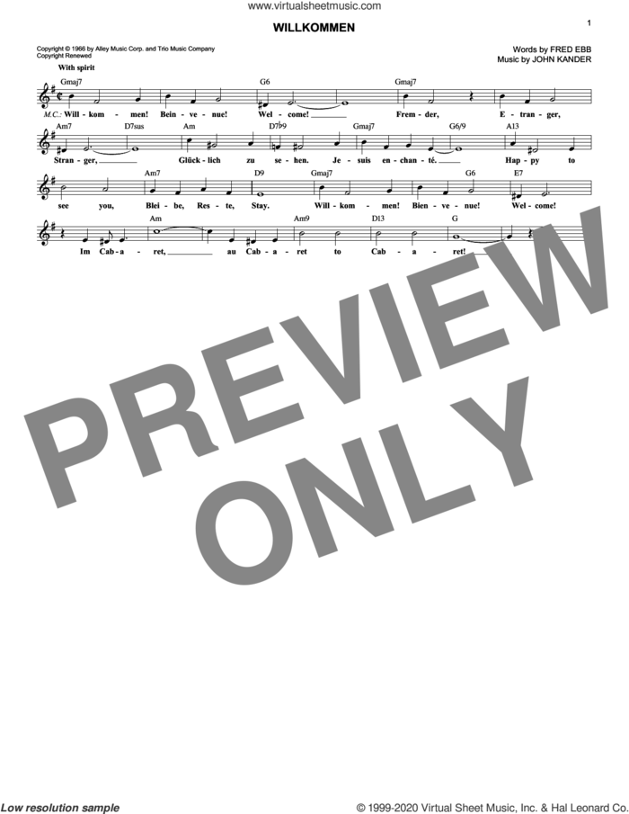 Willkommen sheet music for voice and other instruments (fake book) by John Kander and Fred Ebb, intermediate skill level