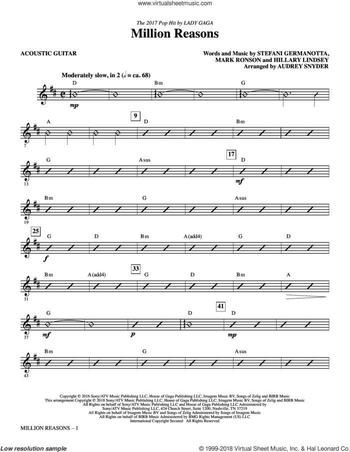 Million Reasons (arr. Audrey Snyder) (complete set of parts) sheet music for orchestra/band by Audrey Snyder, Hillary Lindsey, Lady Gaga and Mark Ronson, intermediate skill level