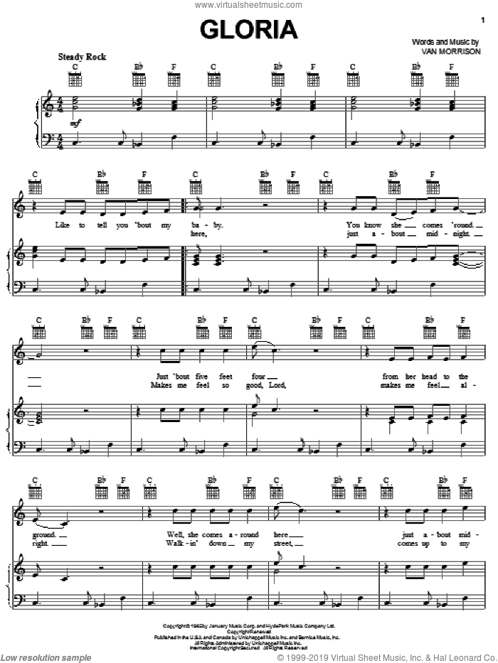 Gloria sheet music for voice, piano or guitar by The Doors, Shadows Of Night and Van Morrison, intermediate skill level