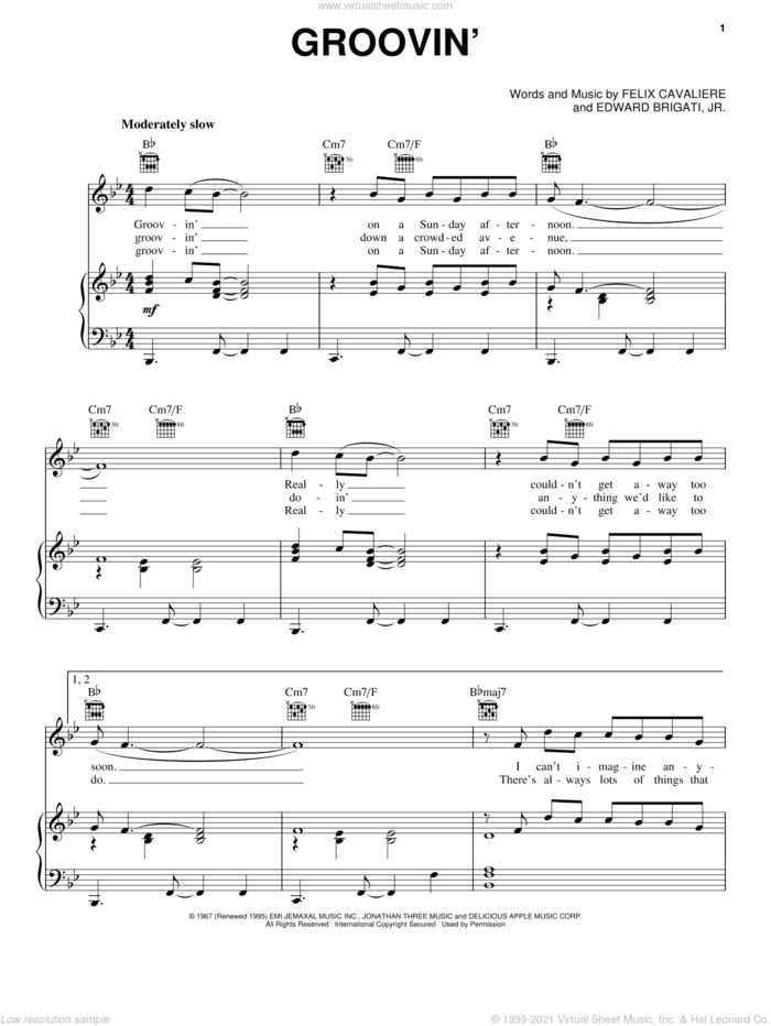 Groovin' sheet music for voice, piano or guitar by The Young Rascals, Edward Brigati Jr. and Felix Cavaliere, intermediate skill level