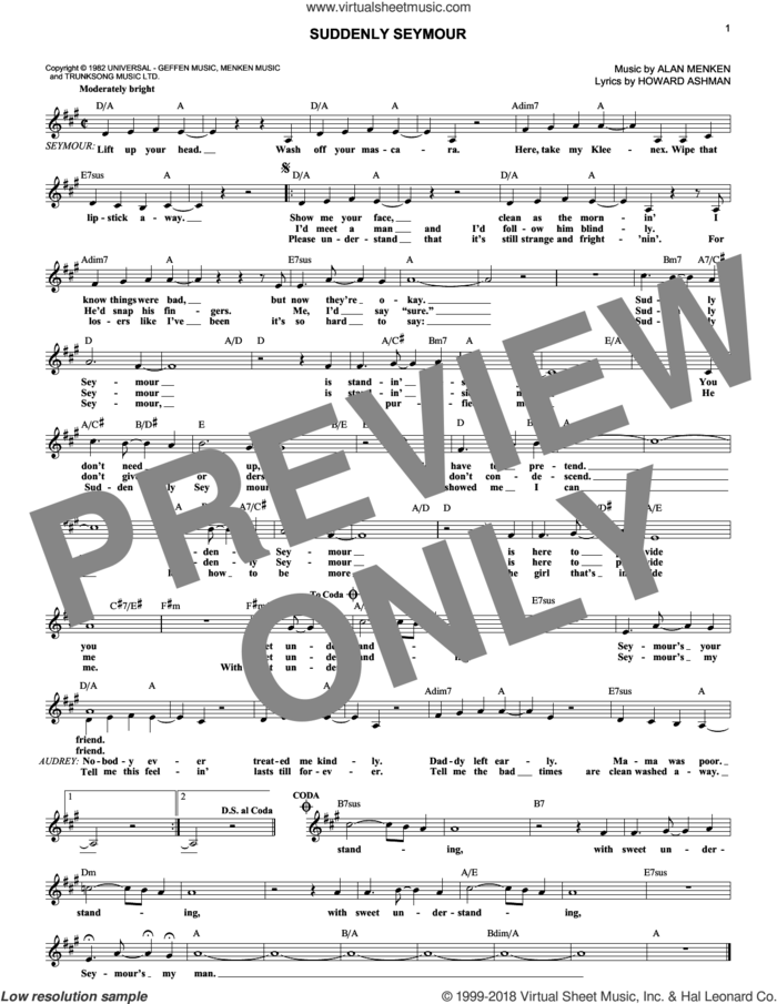 Suddenly Seymour (from Little Shop of Horrors) sheet music for voice and other instruments (fake book) by Alan Menken and Howard Ashman, intermediate skill level