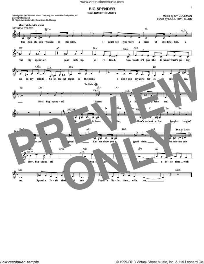 Big Spender sheet music for voice and other instruments (fake book) by Dorothy Fields and Cy Coleman, intermediate skill level