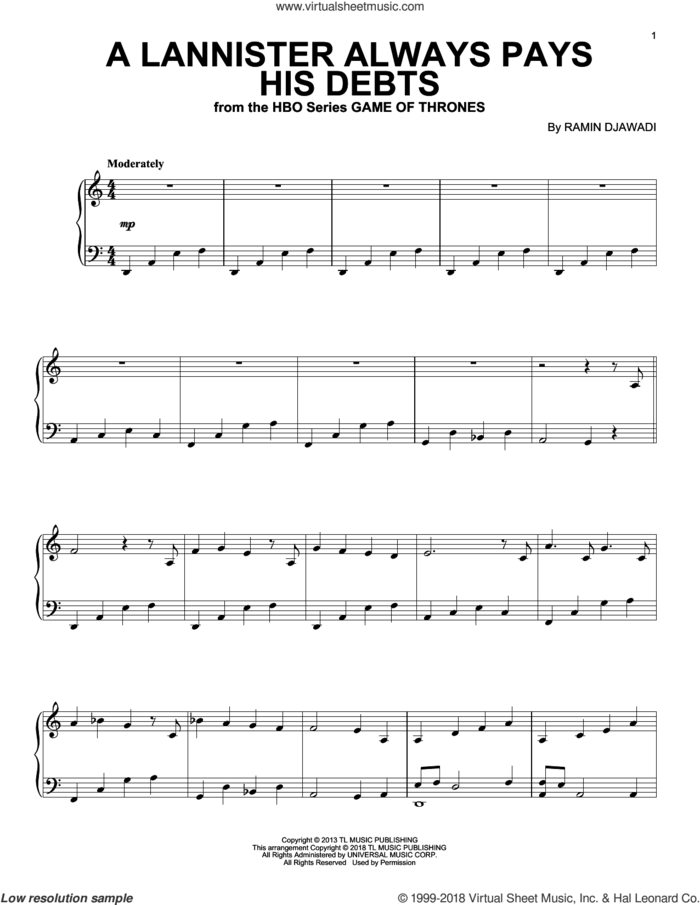 A Lannister Always Pays His Debts (from Game of Thrones) sheet music for piano solo by Ramin Djawadi, intermediate skill level