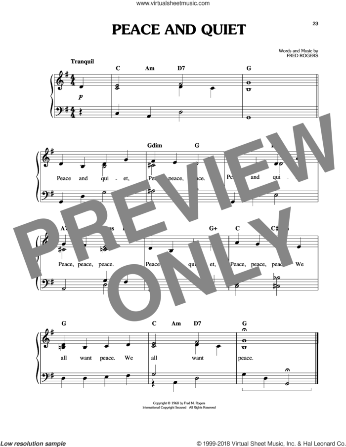 Peace And Quiet sheet music for piano solo by Fred Rogers and Mister Rogers, easy skill level