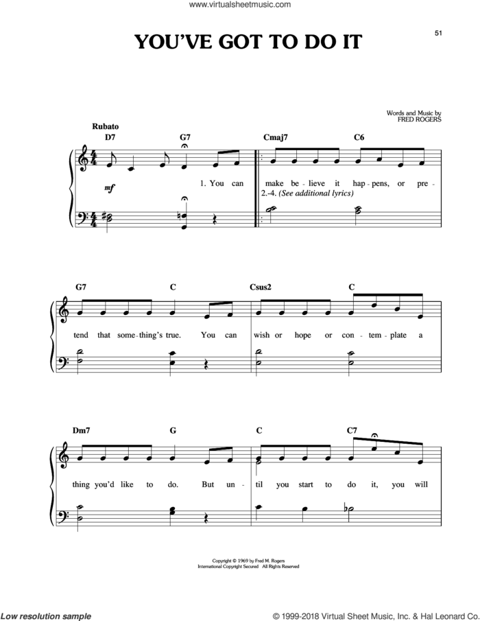 You've Got To Do It sheet music for piano solo by Fred Rogers and Mister Rogers, easy skill level