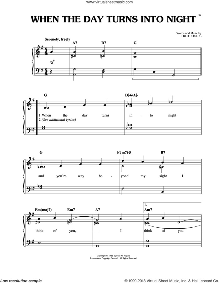When The Day Turns To Night sheet music for piano solo by Fred Rogers and Mister Rogers, easy skill level