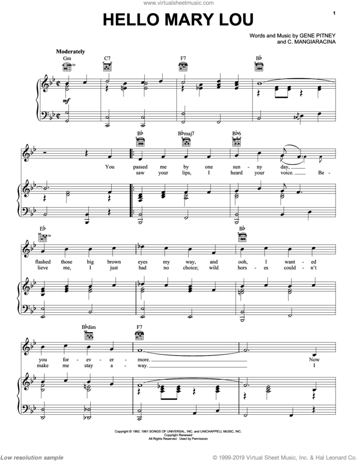 Hello Mary Lou sheet music for voice, piano or guitar by Ricky Nelson, Creedence Clearwater Revival, The Statler Brothers, C. Mangiaracina and Gene Pitney, intermediate skill level