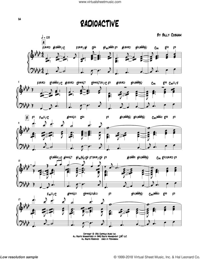 Radioactive sheet music for piano solo (transcription) by Billy Cobham, intermediate piano (transcription)
