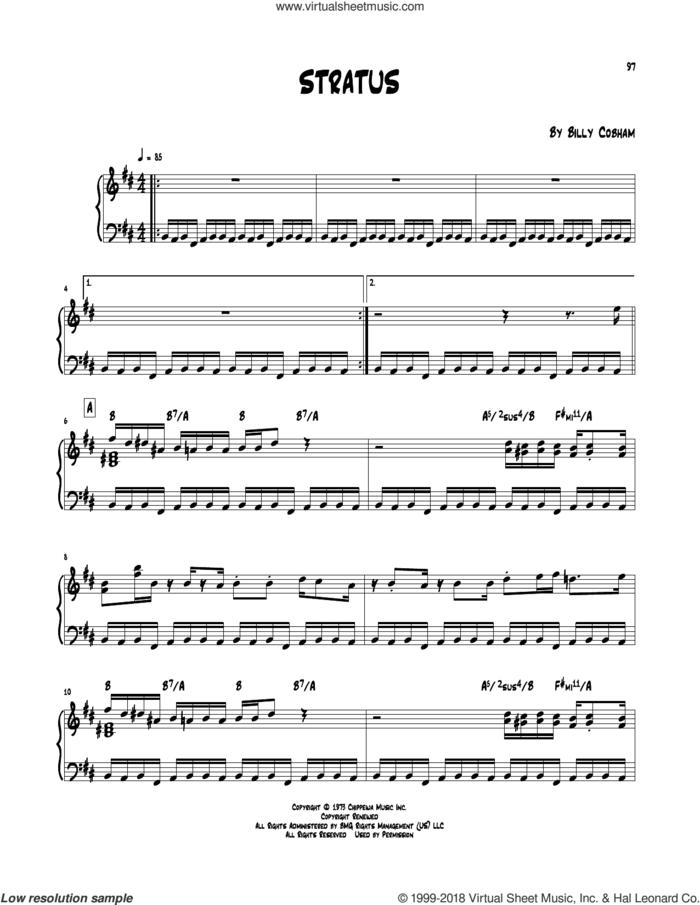 Stratus sheet music for piano solo (transcription) by Billy Cobham, intermediate piano (transcription)