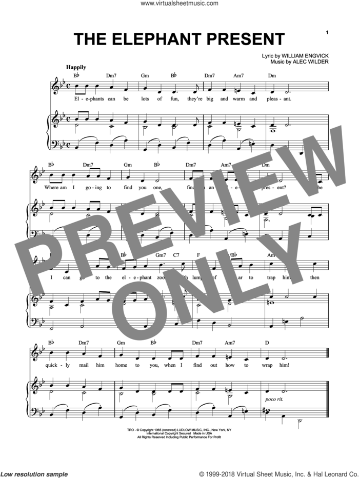 The Elephant Present sheet music for voice and piano by Alec Wilder and William Engvick, intermediate skill level