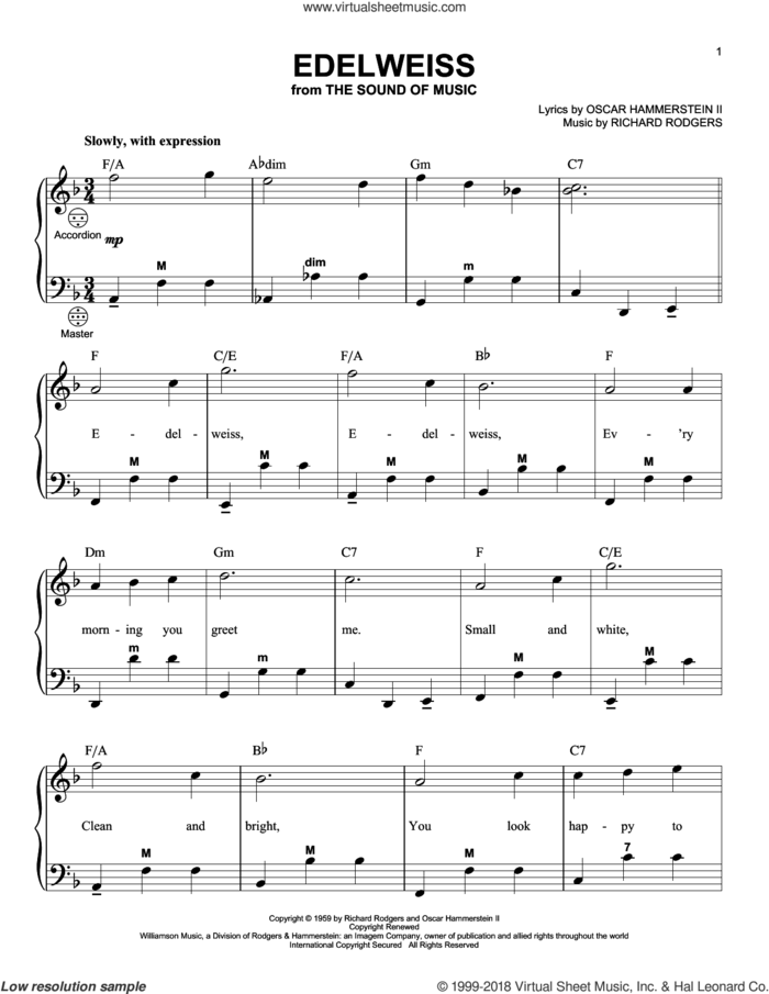 Edelweiss (arr. Gary Meisner) sheet music for accordion by Rodgers & Hammerstein, Gary Meisner, Oscar II Hammerstein and Richard Rodgers, intermediate skill level