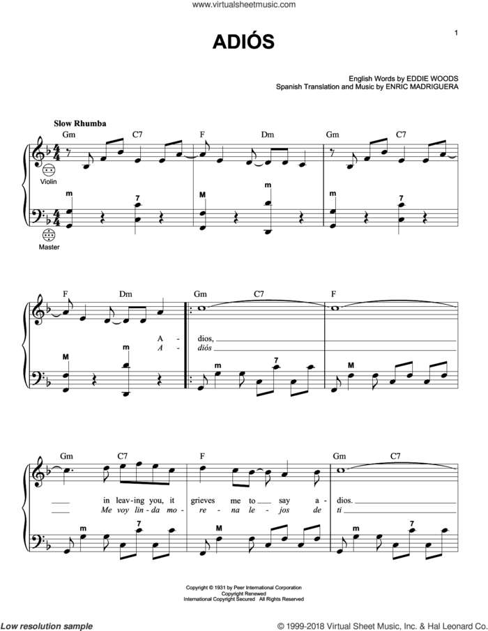 Adios sheet music for accordion by Enric Madriguera and Gary Meisner, intermediate skill level