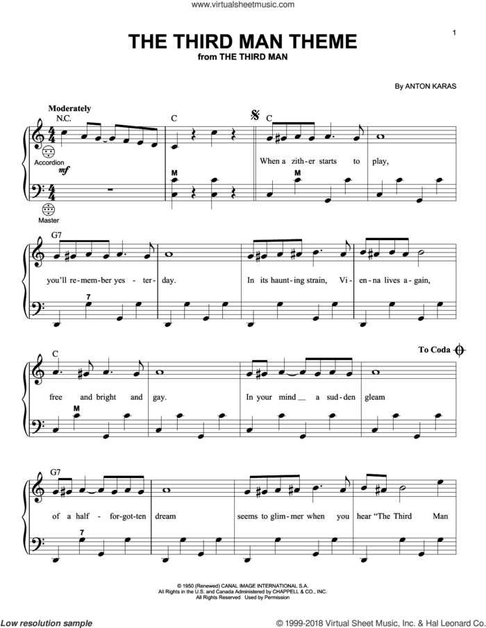 The Third Man Theme sheet music for accordion by Anton Karas and Gary Meisner, intermediate skill level