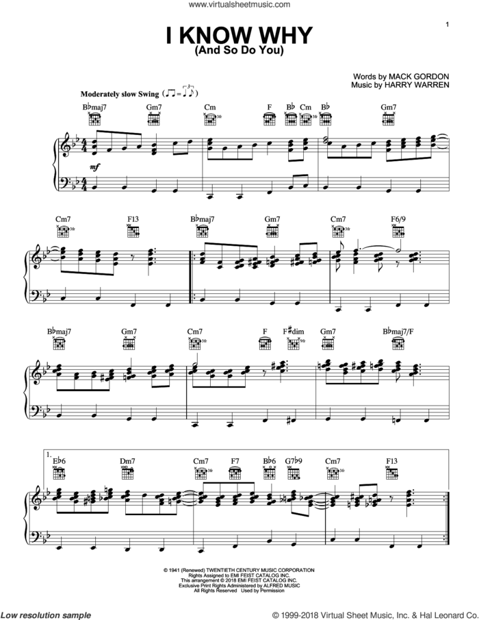 I Know Why (And So Do You) sheet music for voice, piano or guitar by Harry Warren, Alexandre Desplat, Glenn Miller and Mack Gordon, intermediate skill level