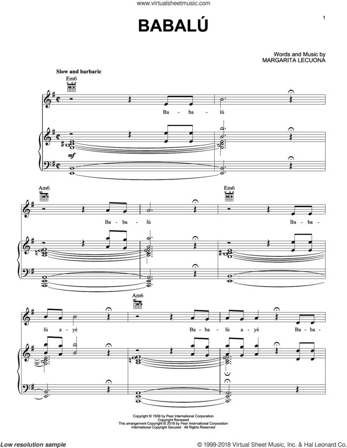 Babalu sheet music for voice, piano or guitar by Margarita Lecuona, Alexandre Desplat and Desi Arnaz, intermediate skill level