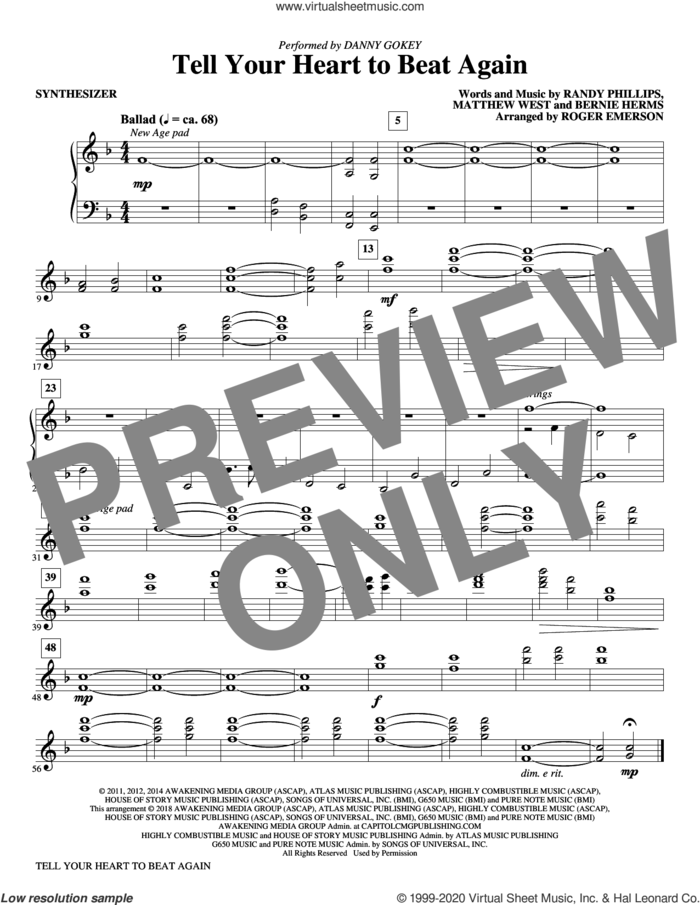 Tell Your Heart to Beat Again (complete set of parts) sheet music for orchestra/band by Roger Emerson, Bernie Herms, Danny Gokey, Matthew West and Randy Phillips, intermediate skill level
