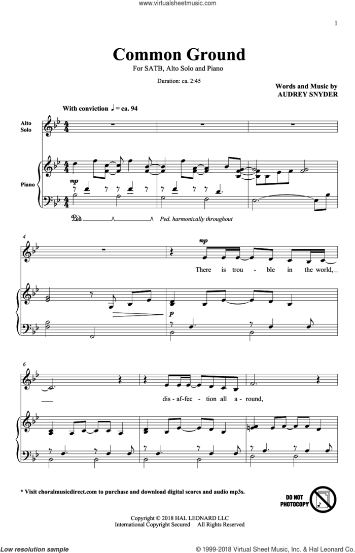 Common Ground sheet music for choir (SATB: soprano, alto, tenor, bass) by Audrey Snyder, intermediate skill level
