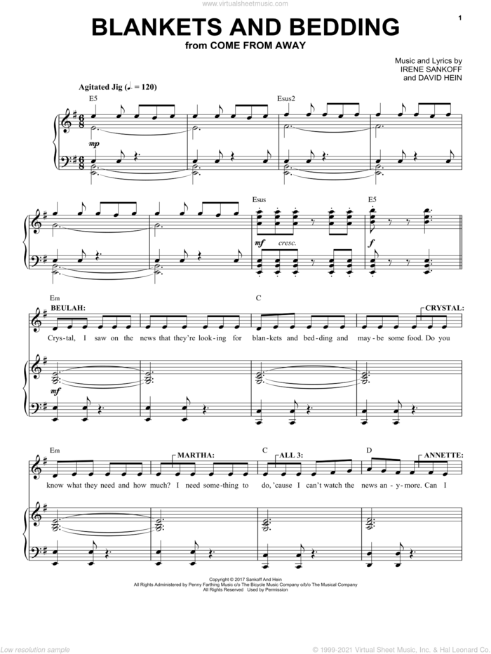 Blankets And Bedding (from Come from Away) sheet music for voice and piano by Irene Sankoff, David Hein and Irene Sankoff & David Hein, intermediate skill level