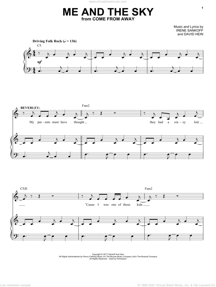 Me And The Sky (from Come from Away) sheet music for voice and piano by Irene Sankoff, David Hein and Irene Sankoff & David Hein, intermediate skill level