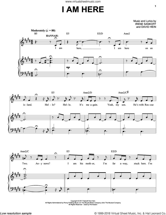 I Am Here (from Come from Away) sheet music for voice and piano by Irene Sankoff, David Hein and Irene Sankoff & David Hein, intermediate skill level