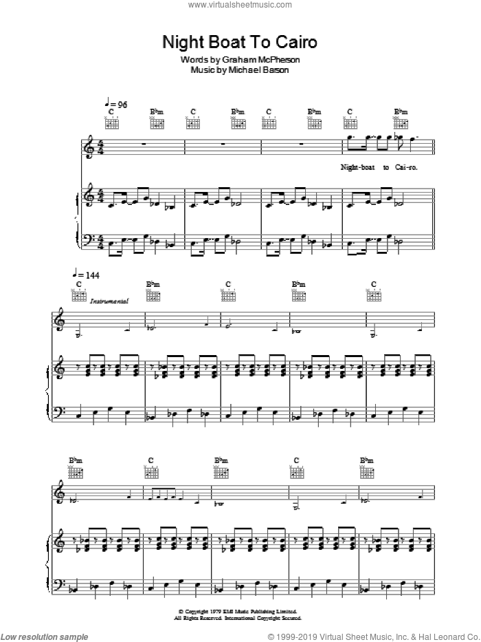 Night Boat To Cairo sheet music for voice, piano or guitar by Madness, Graham McPherson and Michael Barson, intermediate skill level